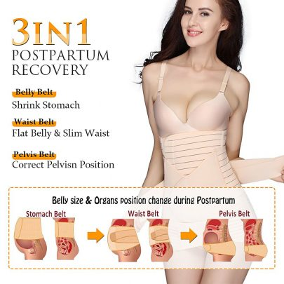 Postpartum Support Recovery Belly Belt Band Wrap Girdle 3 in 1